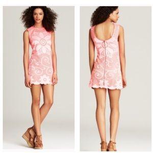 NEW ROMANTICS FREE PEOPLE Pink Lace Dress